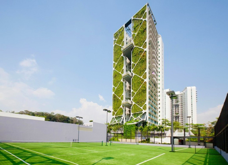 World's Largest Vertical Garden at the Singapore Tree House .
