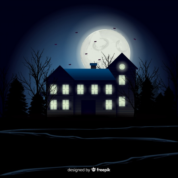 Halloween haunted house background with gradient lights | Free Vect