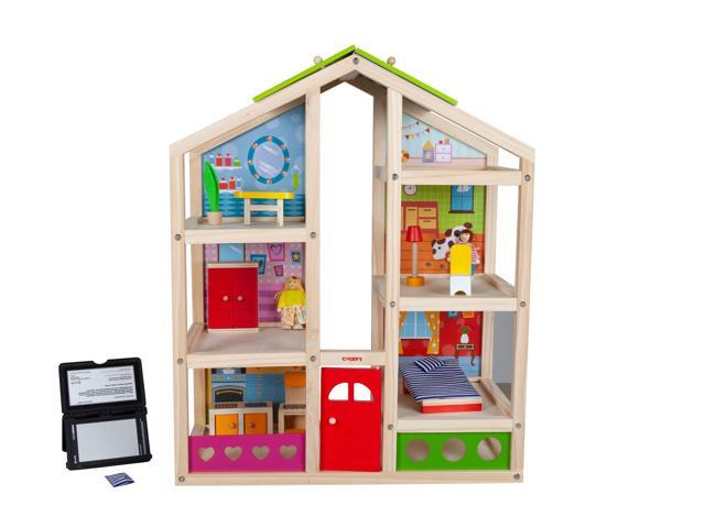 Toyster's Wooden Dollhouse Playset with Furniture | Adorable 6 .