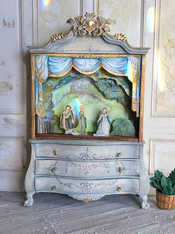 Dollhouse Toy Theatre Cabinet 1:12 Dollhouse Scale, adorable for a .