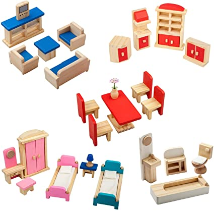 Amazon.com: Giragaer 5 Set Colorful Wooden Doll House Furniture .