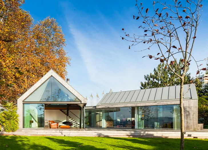 House of Four Houses is a cohesive residence formed out of four .