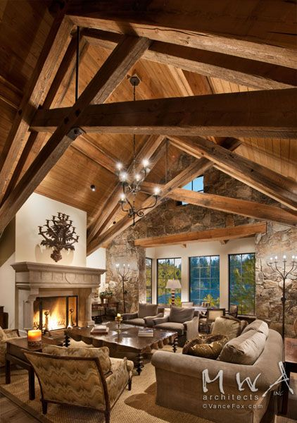 great room, heavy timber trusses, reclaimed wood, wood ceiling .