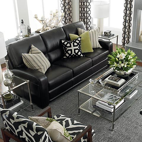 How To Decorate A Living Room With A Black Leather Sofa .