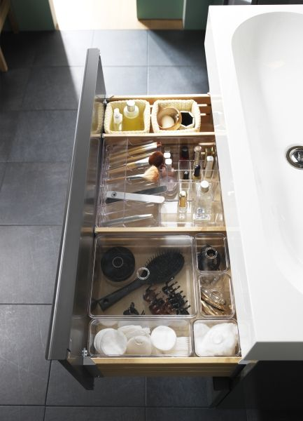 In the bathroom, drawer space can be limited. Make the most of .