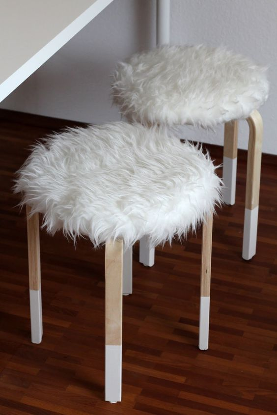 faux fur covers for IKEA Frosta stools for cold seasons   Ikea diy .