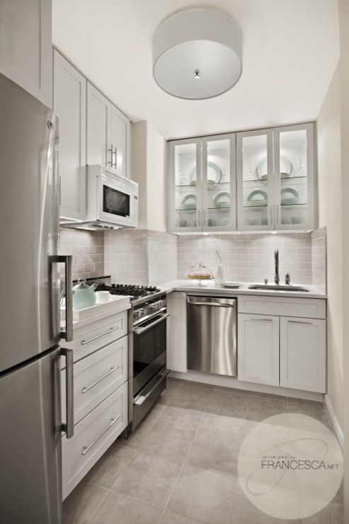 Modern kitchen design with white drum flush-mount pendant, white .