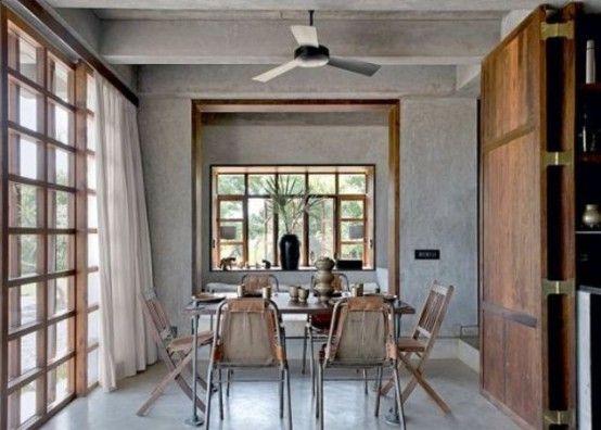 Una casa de hormigón y madera en la India | Hogar, Casa india .