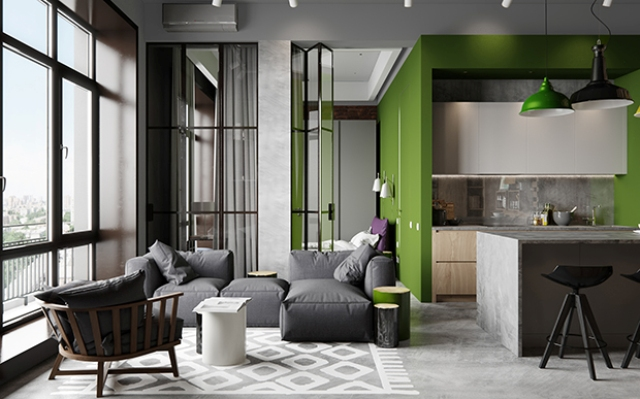 Industrial Chic Apartment With Bold Green Touches - DigsDi