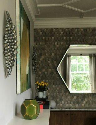 Industrial Style Eros Hexagon Steel Mirror by Casa Botelho for .