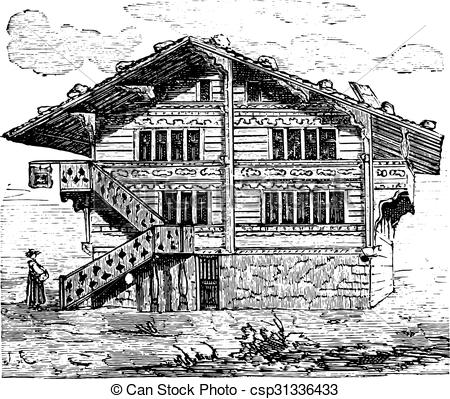 House, swiss chalet, vintage engraving. House, swiss chalet .