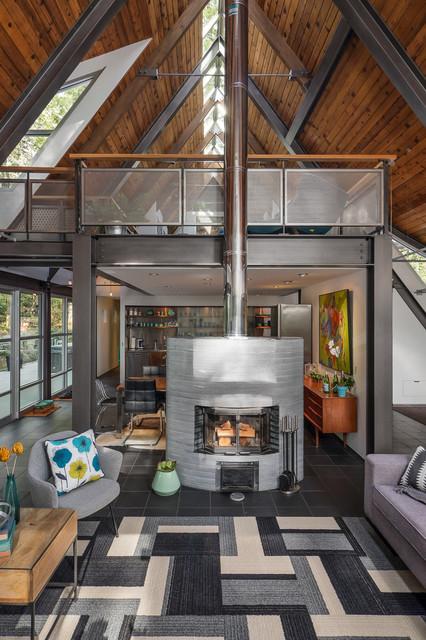 Modern Chalet - Industrial - Living Room - Seattle - by Kirsten .