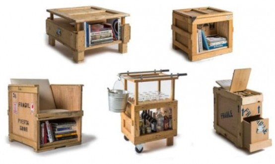 Industrial Furniture Collection Made Of Shipping Crates - DigsDi