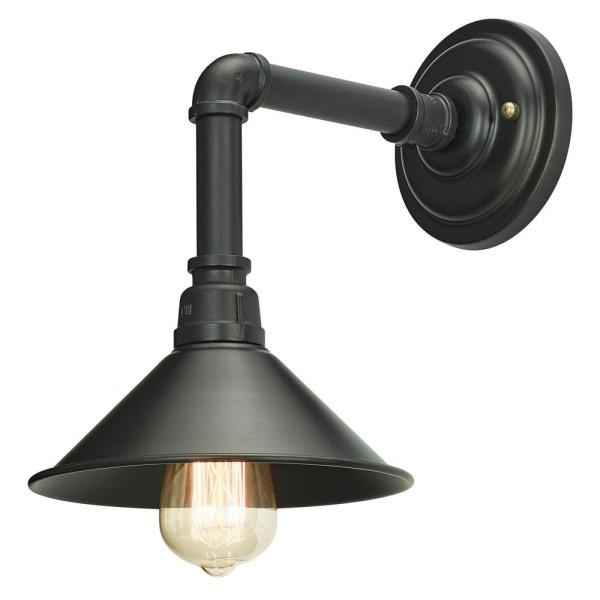 Home Luminaire 1-Light Black Industrial Pipe Sconce with Metal .