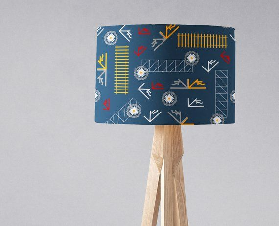 Blue lampshade, Yellow lamp shade, Industrial home decor, Blue .