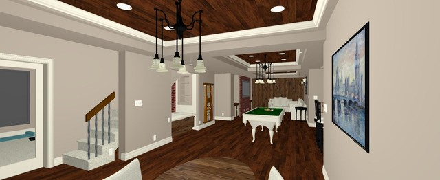 3D - Open Layout Basement - Design with Rustic & Industrial Fusion .