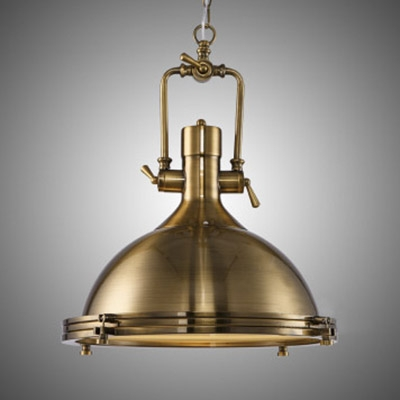"""Industrial Antique Gold Pendant Light in Dome Shade 18"""" Wide ."""