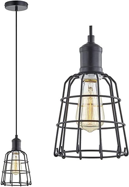 Amazon.com: LeeZM Black Cage Pendant Light Industrial Hanging .
