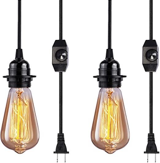 Vintage Plug in Hanging Light Kit, Elibbren Industrial Style .