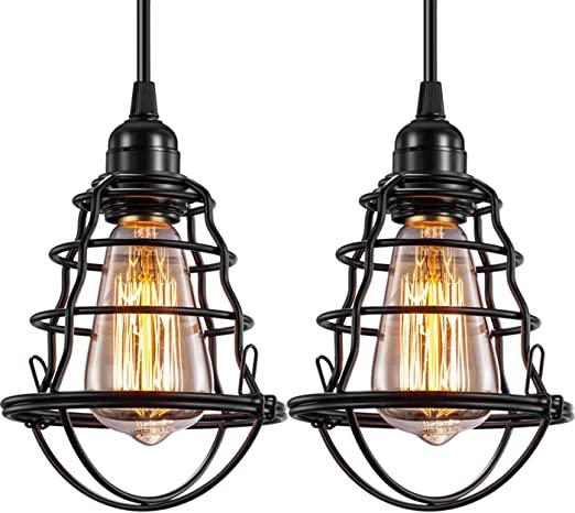 Industrial Pendant Light INNOCCY Edison Hanging Cage Pendant .
