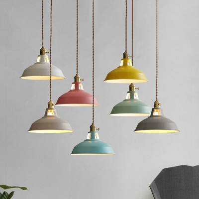 Industrial Hanging Pendant Light with Colorful Barn Shade 1 Light .