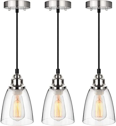 Industrial Mini Pendant Lighting, Clear Glass Shade Hanging Light .