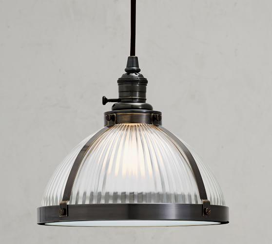 Custom Industrial Ribbed Glass Cord Pendant | Pottery Ba