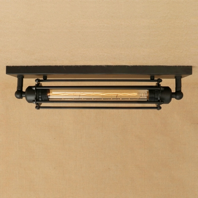 Industrial Tube Flushmount Ceiling Light with Metal Cage in Black .