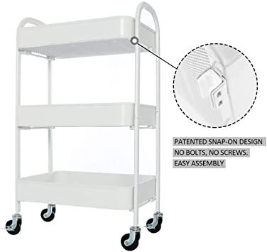 Amazon.com : YOURLITE 3 Tier Metal Rolling Cart, No Screw with .