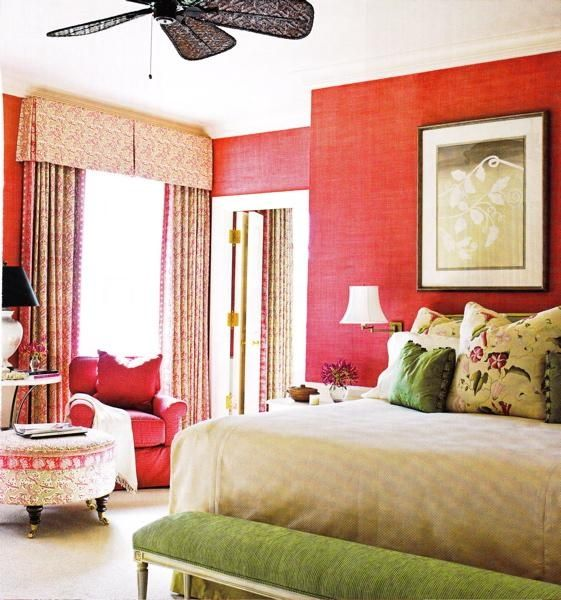 red & green eclectic bedroom design with pink grasscloth grass .