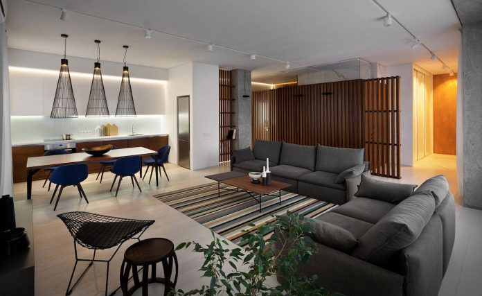 Wood and Marble elegant and laconic minimalist style apartment by .