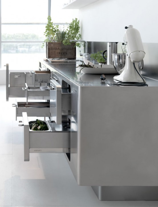 Laconic Stainless Steel Abimis Kitchen For Home Chefs - DigsDi
