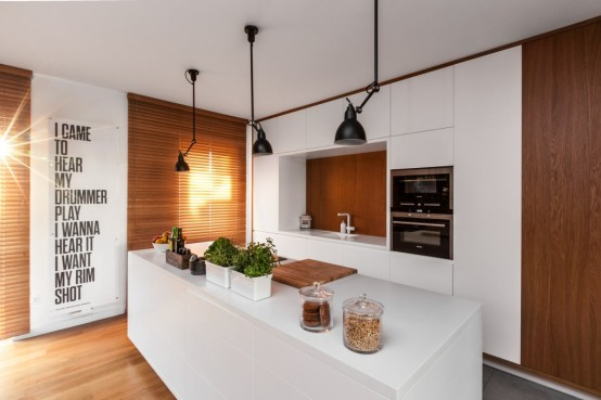 Laconic Yet Cozy Apartment In White And Natural Wood - DigsDi
