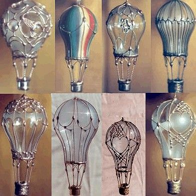 Re-purposed lightbulbs, now hot-air-balloon ornaments. coolest .