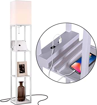 Brightech Maxwell Charger - Shelf Floor Lamp with USB Charging .