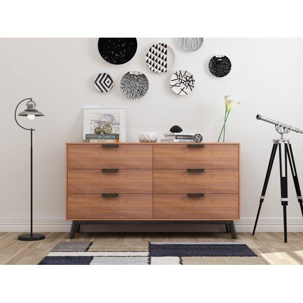 Mainstays Mid Century Modern 6 Drawers Dresser in Multiple Finish .