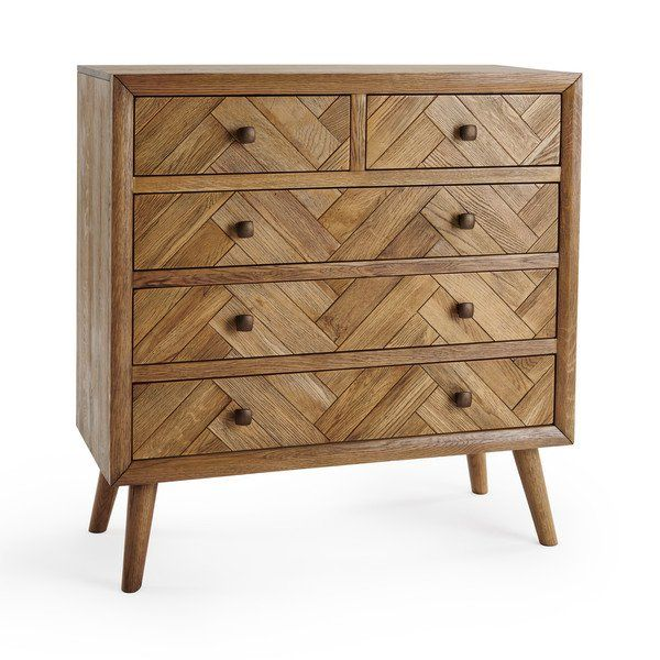 Brushed and Glazed Solid Oak Chest of Drawers - Chest of Drawers .