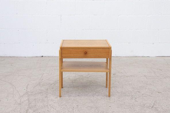Small Danish Natural Oak Nightstand or Side Table | Oak nightstand .