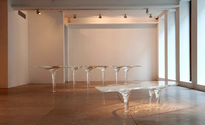 Transparent Liquid Glacial Table Designed by Zaha Had