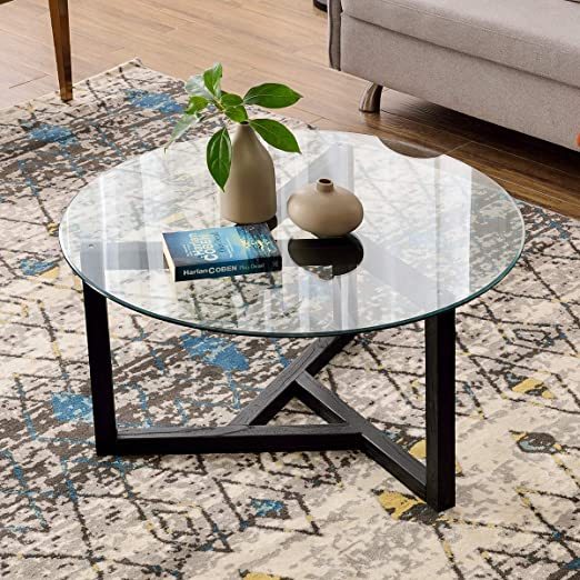 "Amazon.com: Round Coffee Table 35"" Modern Glass Coffee Table P ."