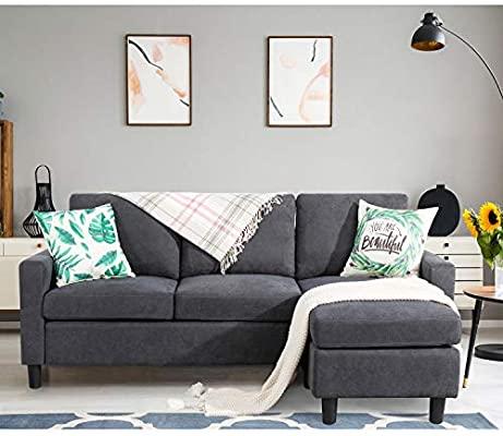Amazon.com: Shintenchi Convertible Sectional Sofa Couch, Modern .