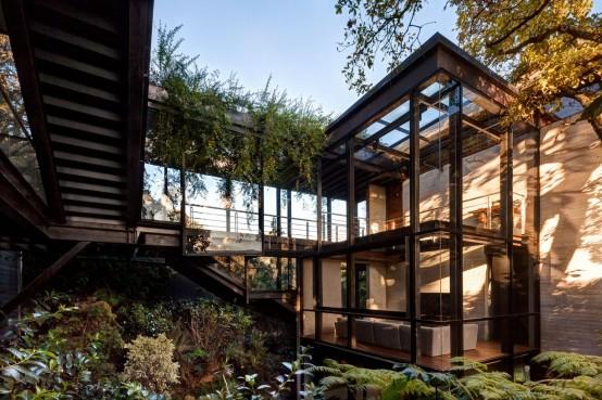 Living Amidst The Forest: Glazed Tepozcuautla House - DigsDi