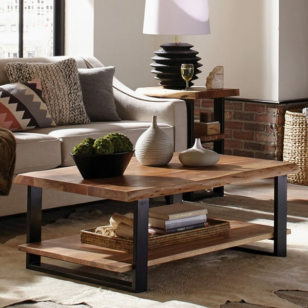 """Shop Alpine 48"""" Natural Live Edge Wood Coffee Table, Natural - On ."""