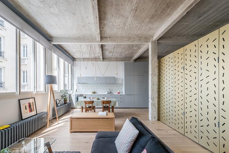 SABO Project Adds A Gold-clad Island In A Raw Paris Loft — urdesignm