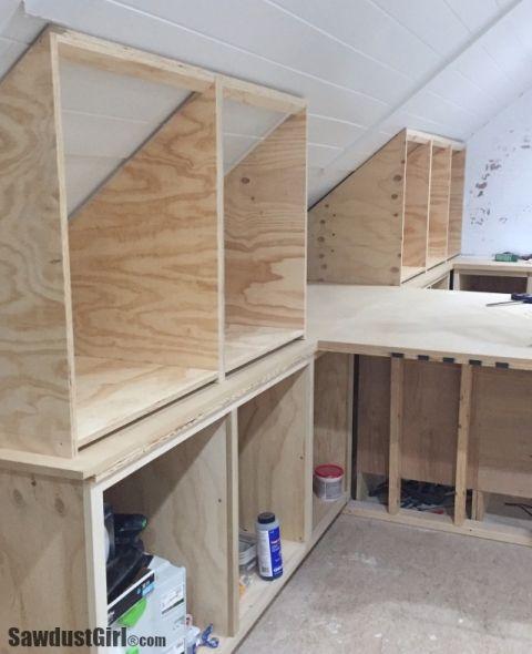 Building Angled Cabinets - Sawdust Girl® | Attic storage, Loft .