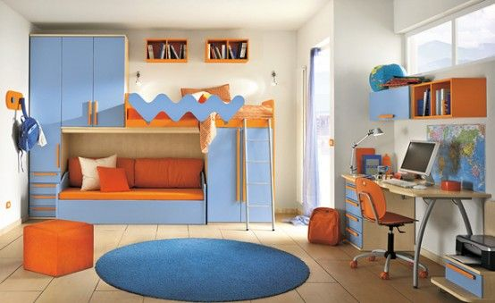 Nice bed and lower living area detail | Kids room interior design .