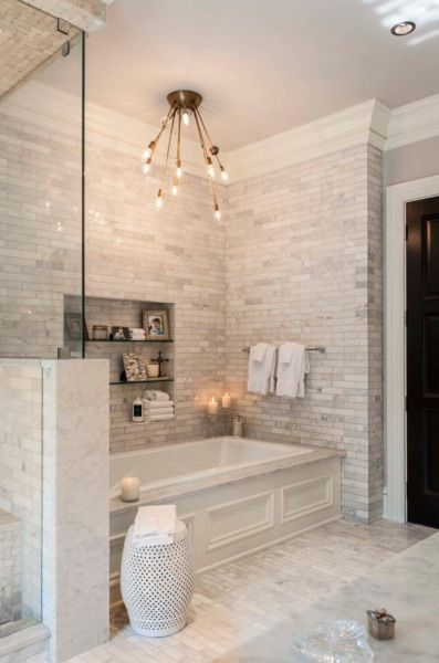 This stunning white bathroom was completed by @davincimarble .