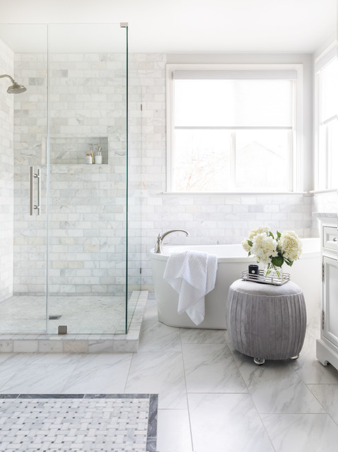 Marble Tile Brings Spa-Like Luxury to a Master Ba