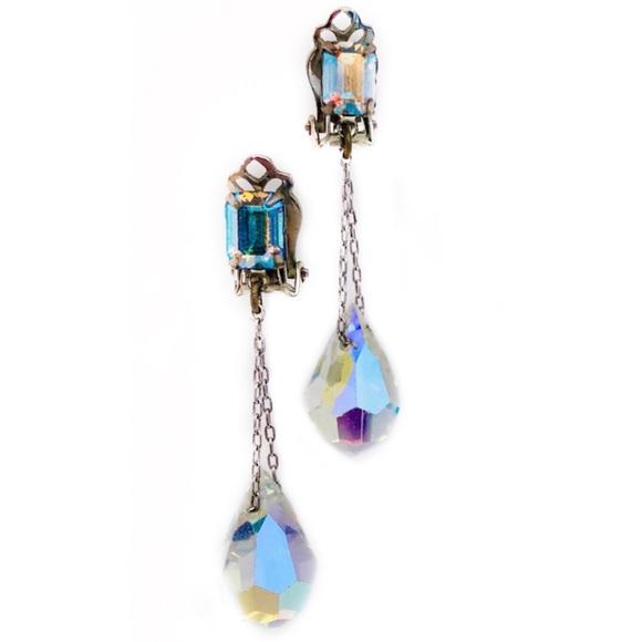 Vintage Jewelry   Mid Century Aurora Crystal Drop Earrings   Poshma