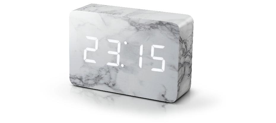 Gingko Marble Brick Click Clock - Smart Clock - Time, Temperature .